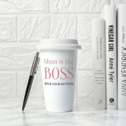 The BOSS ceramic travel mug